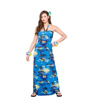 Hawaii Maxi Dress - Blue Palm (L)