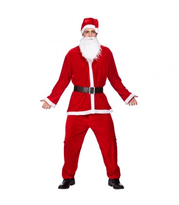 Deluxe Velour 5pc Santa Suit (Adult One Size)