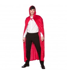 Deluxe Velvet Hooded Cape  (Adult) - RED