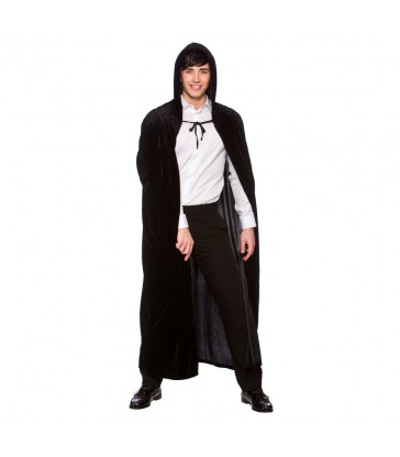 Deluxe Velvet Hooded Cape  (Adult) - BLACK