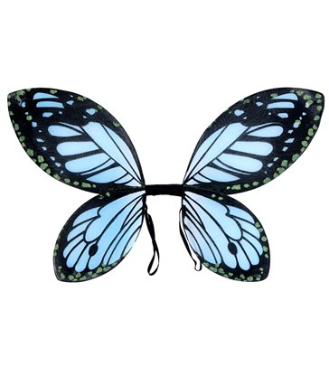 BLACK-BLUE BUTTERFLY WINGS - child size