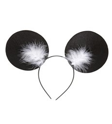 MOUSE EARS HEADBAND W/MARABOU