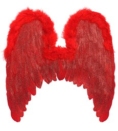 RED FEATHERED WINGS w/MARABOU TRIM & GLITTER 46x49cm