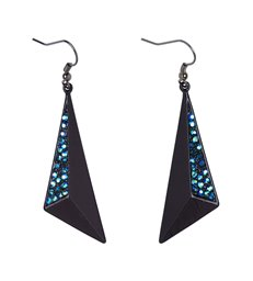 BLACK & SAPPHIRE STRASS EARRINGS