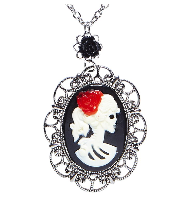 NECKLACE WITH BLACK ROSE & SKULL CAMEO