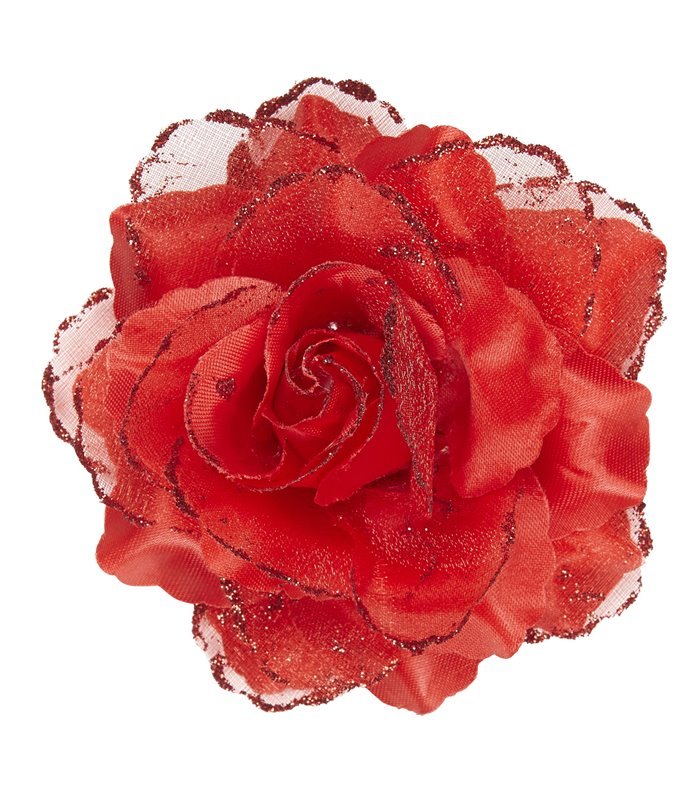 RED ROSE HAIR CLIP WITH GLITTER