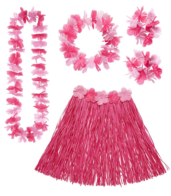 HAWAIIAN SET - PINK (skirt lei crown 2 bracelets)