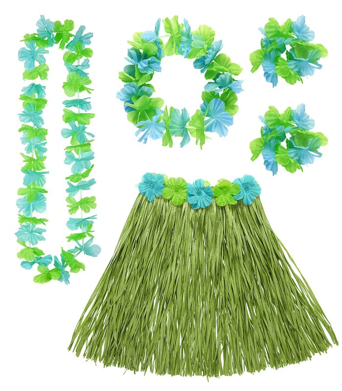HAWAIIAN SET - GREEN (skirt lei crown 2 bracelets)