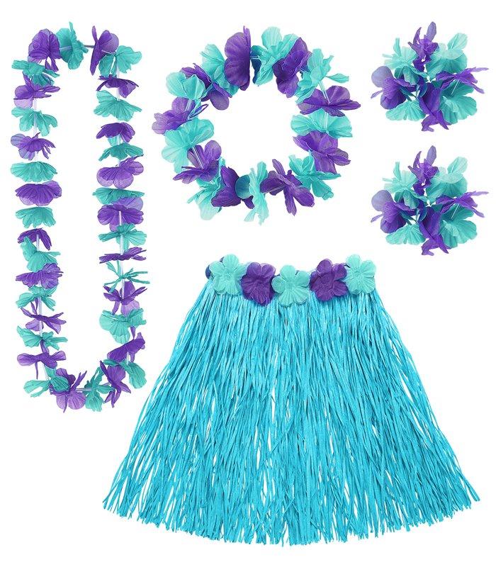 HAWAIIAN SET - BLUE (skirt lei crown 2 bracelets)