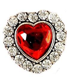 HEART RING W/RED GEM & STRASS