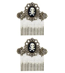 Pair of ANTIQUATED GOLD SKULL & CROSS BONES HAIR COMBS