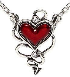 DEVILISH RED HEART GEM NECKLACE