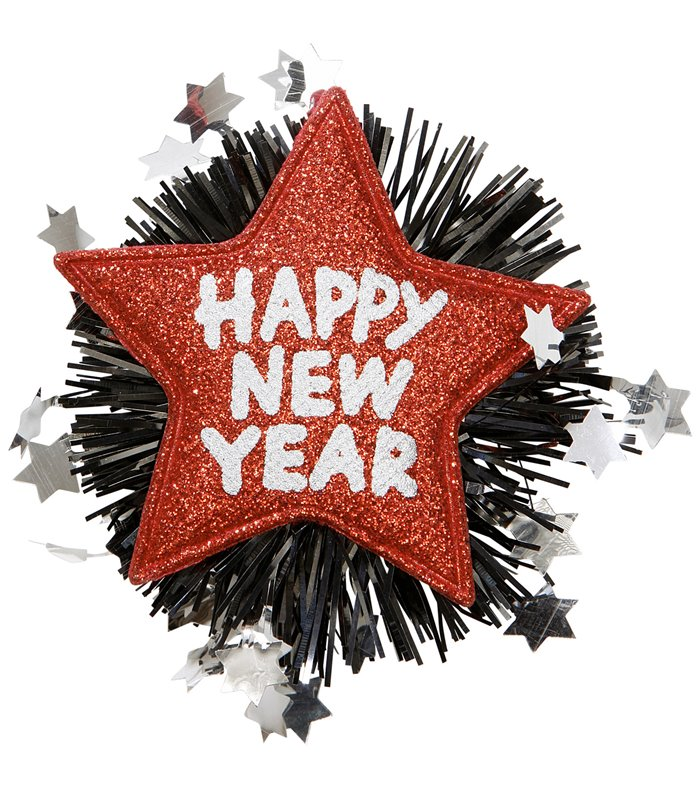 HAPPY NEW YEAR BROOCH - RED