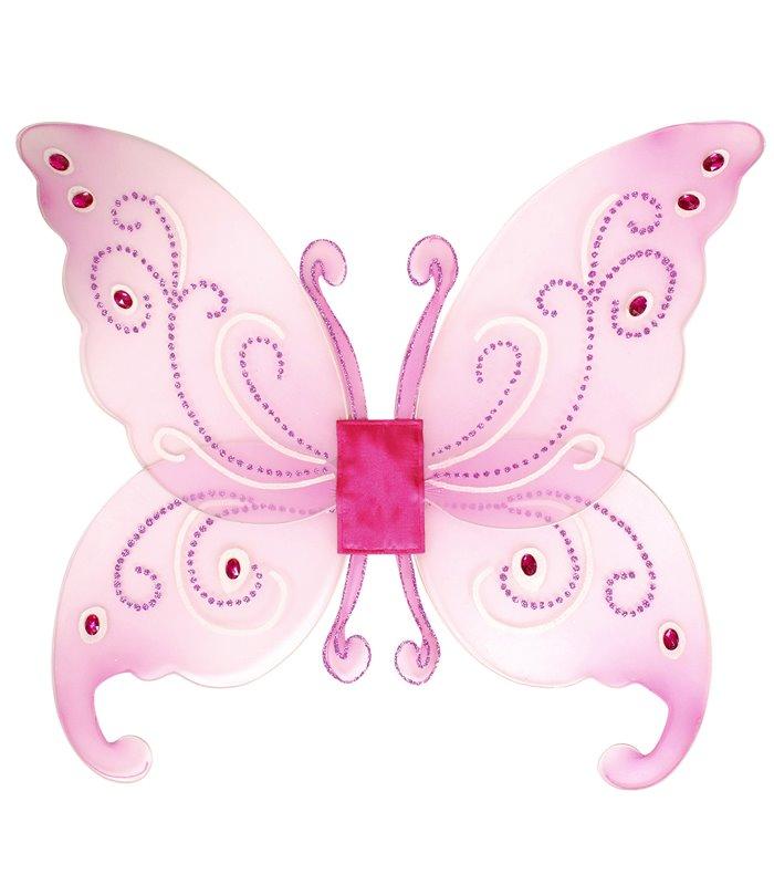 FANTASY GLITTER WINGS W/GEMS  (pink or white) 66cm x 55cm