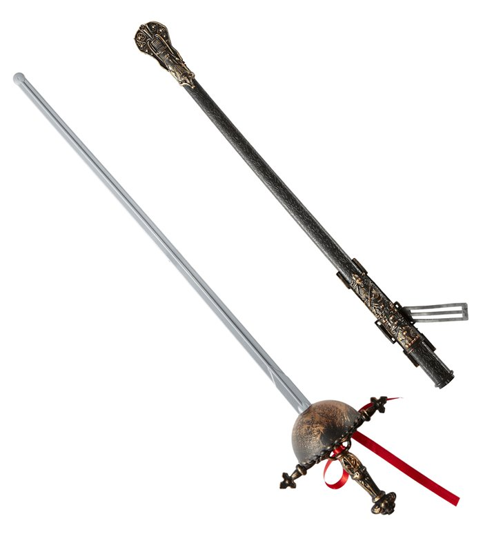 OLD TIME FENCING FOILS W/ DECORATED SCABBARD 68cm