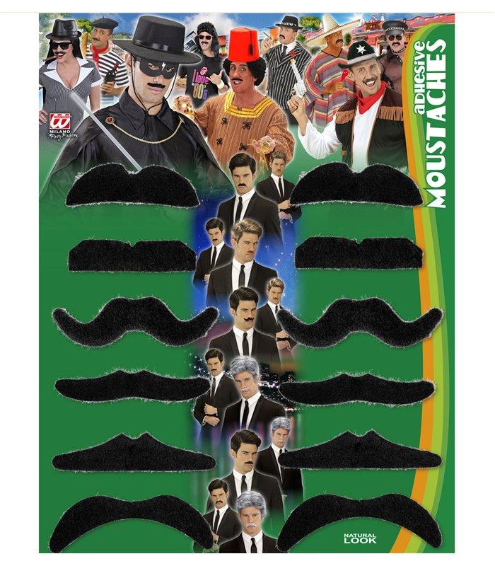 PARTY MOUSTACHES - BLACK - set of 12