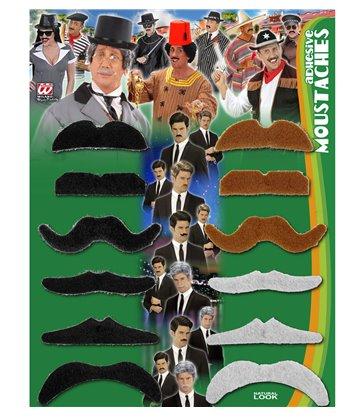 PARTY MOUSTACHES - MIXED COLOURS - set of 12