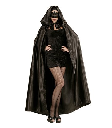 BLACK SATIN HOODED CAPE