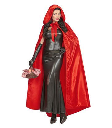 RED SATIN HOODED CAPE 145 cm