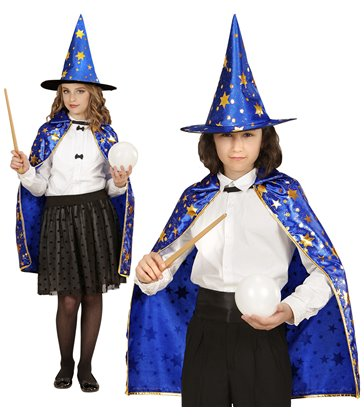 WIZARD CAPE & HAT BLUE WITH GOLD STARS (1 Size)