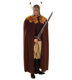 BROWN WARRIOR CAPE W/PLUSH COLLAR 140 cm