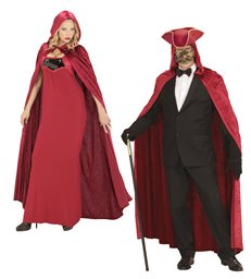 RED HOODED VELVET CAPE 120 cm