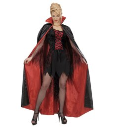 BLACK-RED LINED SATIN CAPES 158 cm