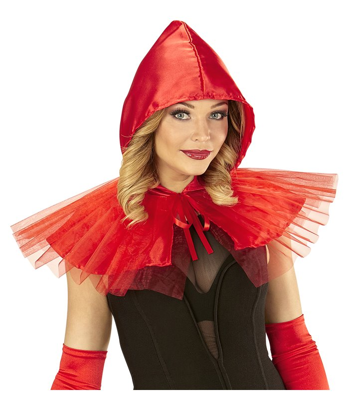 RED CAPELET SHORT FRILLY (hooded capelet)