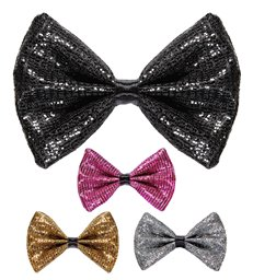 SQUARE GLITTER BOW TIE 4 colors ass.