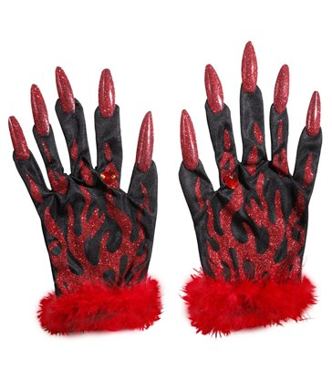 DEVIL GLOVES WITH RED GLITTER NAILS