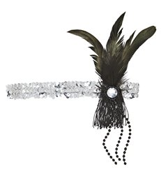 SILVER SEQUIN HEADBAND WITH FEATHER & PEARLS