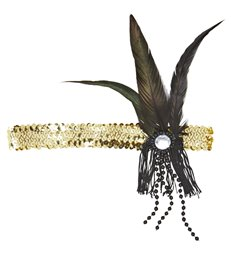 GOLD SEQUIN HEADBAND WITH FEATHER & PEARLS