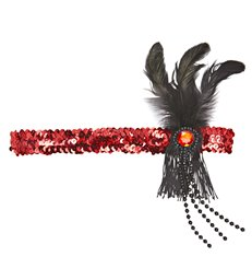 RED SEQUIN HEADBAND WITH FEATHER & PEARLS